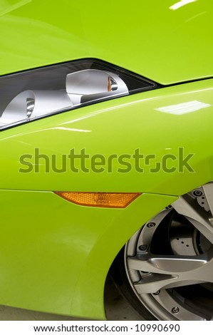 an image of a Italian sports car in green - stock photo