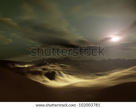 An image of a landscape desert sunset - stock photo