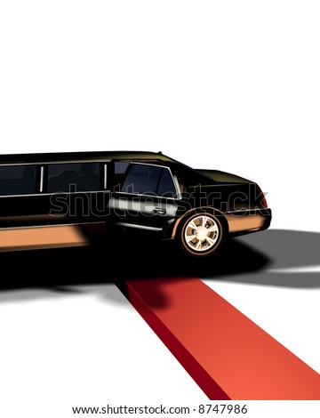 An image of a Limousine with a red carpet, useful for concepts involving fame and movie premieres. - stock photo
