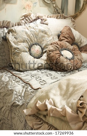 An image of a luxurious sage bedroom set - stock photo