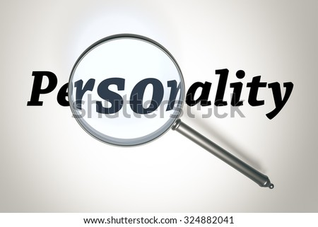 An image of a magnifying glass and the word Personality - stock photo