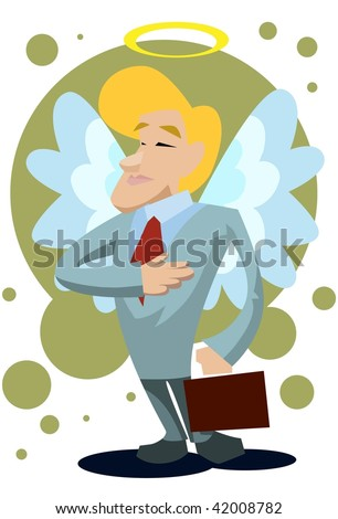 An image of a male angel with wings and halo and dressed up like a businessman carrying a briefcase