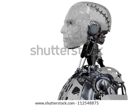 An image of a male cyborgs head in profile. Isolated on white background.