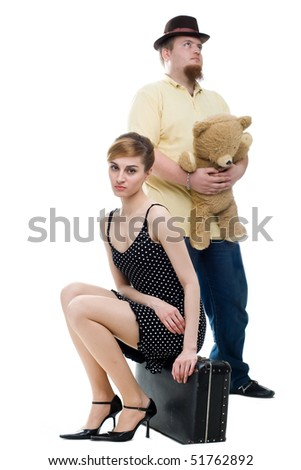 An image of a man and a woman in a quarrel - stock photo