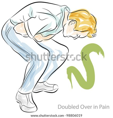 An image of a man doubled over in stomach pain. - stock photo