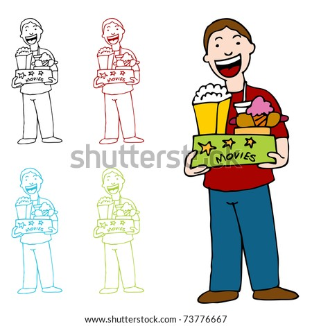 An image of a man holding a box of movie theater food. - stock photo
