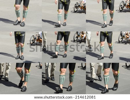 an image of a man in Bavarian tradition clothes at the Oktoberfest - stock photo