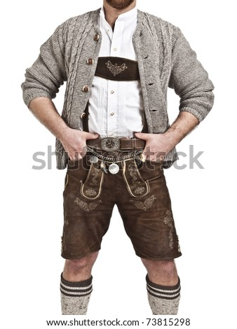 An image of a man in Bavarian tradition Oktoberfest - stock photo