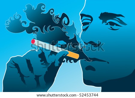 An image of a man smoking a cigarette. - stock photo