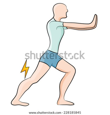 An image of a man stretching his calf muscle. - stock photo