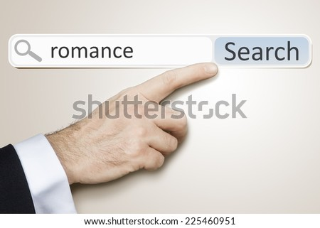 An image of a man who is searching the web after romance - stock photo