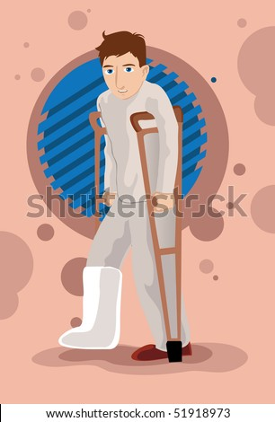 An image of a man with a cast on a fractured leg walking with the aid of crutches - stock photo