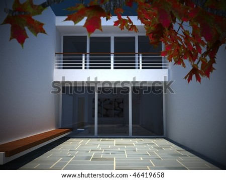 An image of a modern house courtyard - stock photo