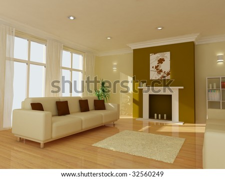 An image of a modern living room - stock photo