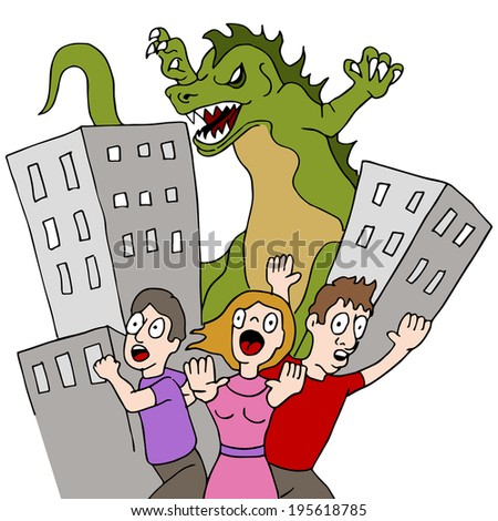 An image of a monster destroying city while people run. - stock photo