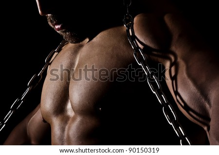 An image of a muscular sports man - stock photo