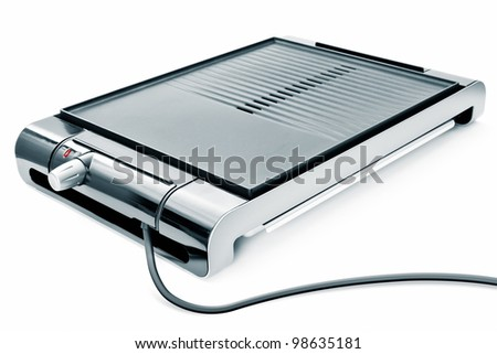 An image of a new electric barbecue on white background - stock photo