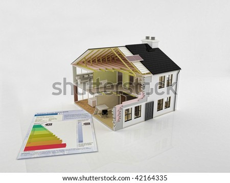 An image of a new house construction with energy saving certificate