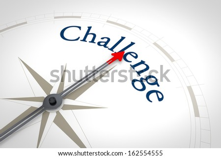 An image of a nice blue compass with the word Challenge - stock photo