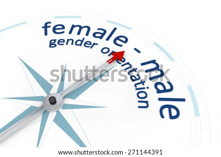 An image of a nice blue compass with the word gender orientation female male - stock photo