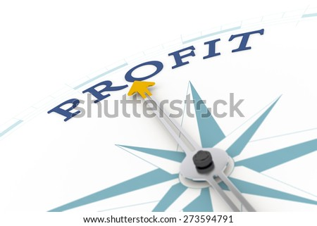 An image of a nice blue compass with the word profit - stock photo