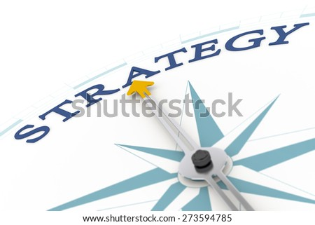 An image of a nice blue compass with the word strategy - stock photo