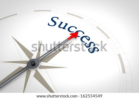 An image of a nice blue compass with the word success - stock photo