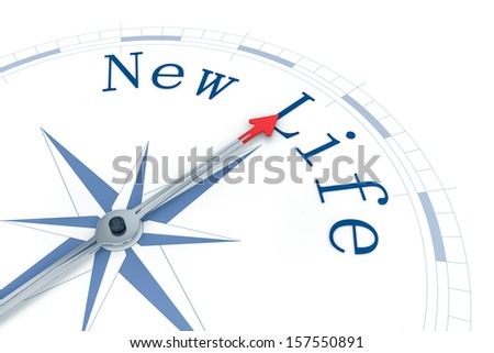 An image of a nice blue compass with the words New Life - stock photo