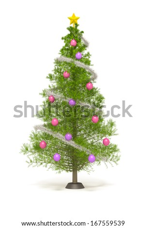 An image of a nice christmas tree isolated on white - stock photo