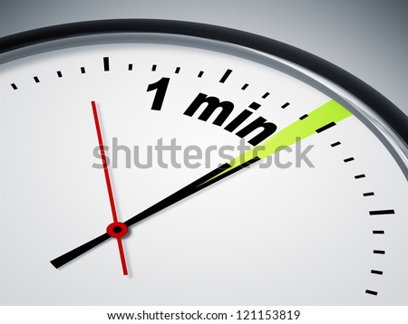 An image of a nice clock with 1 min - stock photo