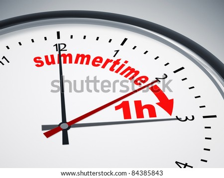 An image of a nice clock with summertime 1h - stock photo