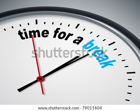 An image of a nice clock with time for a break - stock photo