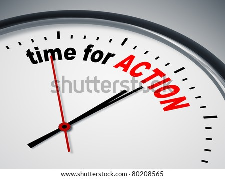 An image of a nice clock with time for action - stock photo