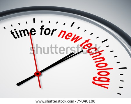 An image of a nice clock with time for new technology - stock photo