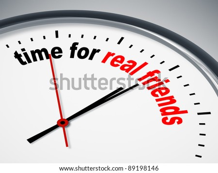 An image of a nice clock with time for real friends