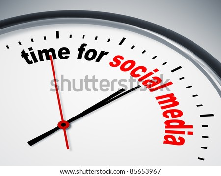 An image of a nice clock with time for social media - stock photo