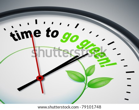 An image of a nice clock with time to go green - stock photo