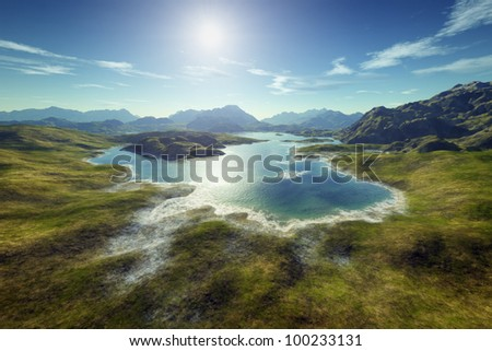 An image of a nice fantasy landscape - stock photo