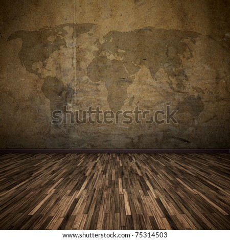 An image of a nice floor with a world map - stock photo