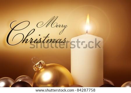 An image of a nice golden christmas card - stock photo