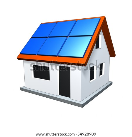 An image of a nice house with solar panels - stock photo