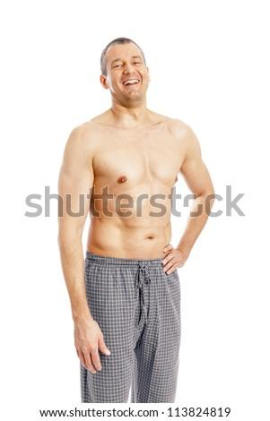 An image of a nice man in pajamas - stock photo