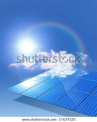 An image of a nice solar panel with a rainbow - stock photo