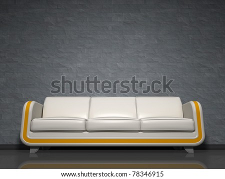 An image of a nice white sofa with yellow line - stock photo