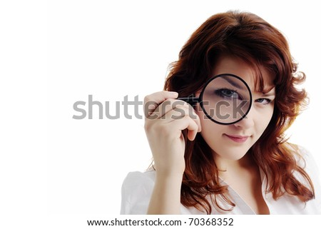 An image of a nice woman with magnifying glass