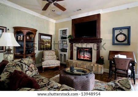 An image of a nicely decorated living room - stock photo