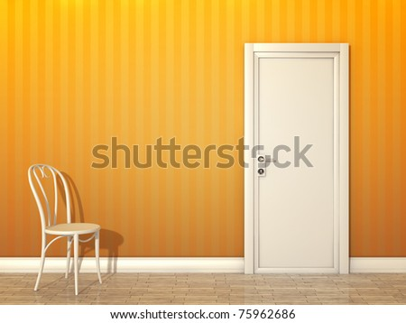 An image of a orange room with white door and chair - stock photo