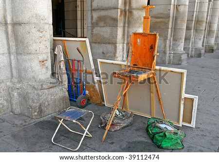 An image of a painting studio in the street - stock photo