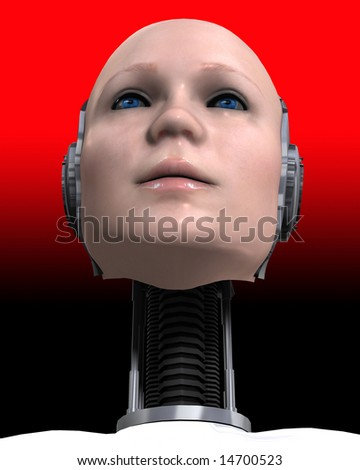 An image of a part women part machine cyborg. - stock photo