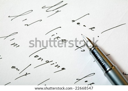 An image of a pen on a background of a love letter
